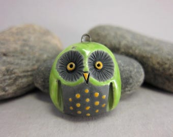 Green Owl...Raku Pendant