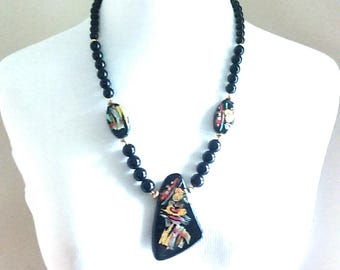 Vintage Art Deco Black Bead & Ceramic Statement Necklace / Elegant Jewelry / Fashion Statement / Funky Necklace