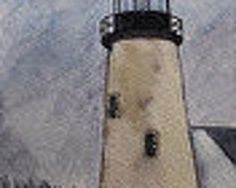 Maine Watercolor Painting Pemaquid Light House Maine Seascape Landscape Lighthouse Original Plein Air Kathleen Daughan Artist