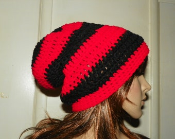Black Slouch with Bright  Red Stripes Beanie Slouch Hat Hand Crochet for a Man Women or a Teen