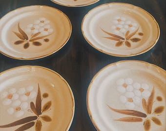 Vintage Salad Plates, The Classics, Hearthside, Set of 5, Castlewood, Hand Painted Stoneware, Kitchenware