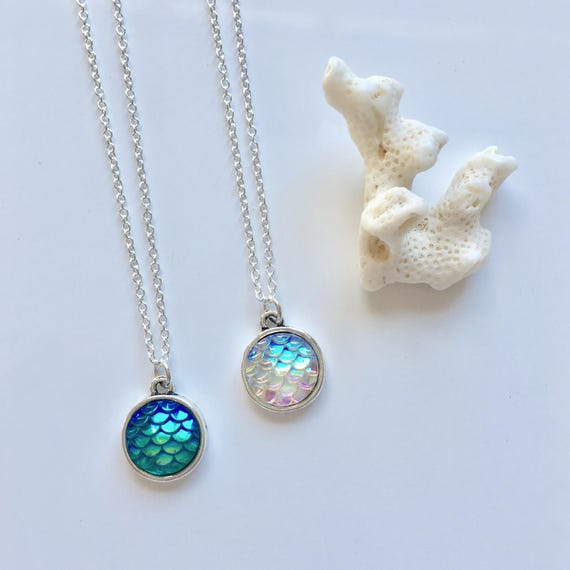 mermaid scale necklace, beach jewelry