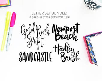 NEW!! Letter Set BUNDLE 5-INSTANT download four brush fonts in svg format, font bundle, handlettered font, brush font, script svg, font cut