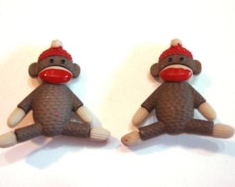 Sock Monkey Buttons Monkeys Dress It Up Buttons Jesse James Buttons Toys Set of 2 Shank Back Craft Hair Card Scrapbook Supply Sitting - 102
