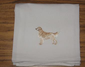 Machine Embroidered Golden Retriever Flour Sack Dish Towel