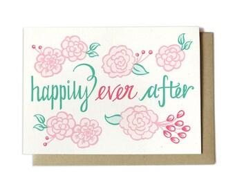 Wedding Card - Happily Ever After - Spring Wedding - Summer Wedding - Wedding Flowers Card