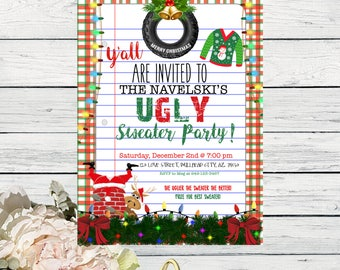 Funny Ugly Sweater Christmas Party Invite -  ***Digital File***  (Christmas-TireSweater)