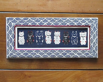 Cats lucky - Maneki Neko 2 - panel fabric