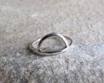 925 Sterling silver semi circle ring