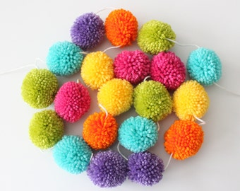 Pom Pom Garland, Yarn Pom Poms, Rainbow Bright Colors, Yellow Orange Pink Green Teal Purple, Party Room Decor, Custom Colors, Made to Order