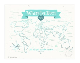Where I've Been: World Map, Icy Blue Illustrated Art Print