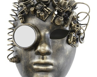New! Vintage Monocle Halloween Steampunk Full Face Mask with Gears and Power Cables -SPM022