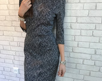 MOTHERS DAY GIFT, Midi Pencil Dress, black and White Dress - Nely- Sizes: S, M, L, Gift For Mom, Bff Gift, Sister Gift, Gift For Her