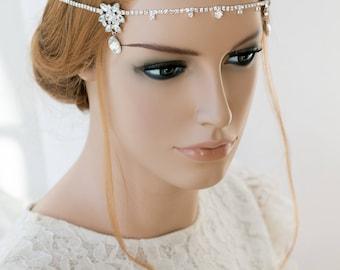 Wedding hair jewelry, bridal headpiece, wedding hair vine, bridal rhinestones hairband