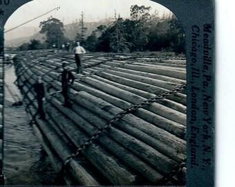 Vintage Stereoview Stupendous Log Raft Columbia River Oregon
