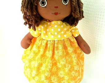Brown skin, African doll, handmade fabric  doll, handmade doll toy, doll for girls.