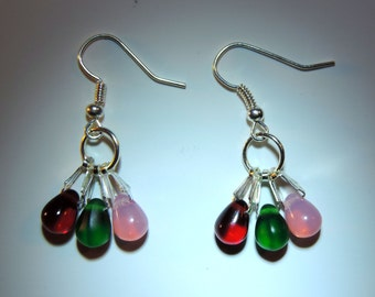 Colorful Christmas 3 stone (Silver Plated)  Dangle Earrings