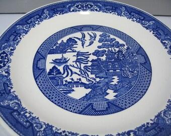 Blue Willow Platter, 12 inch Transferware Round Serving Platter, Royal China