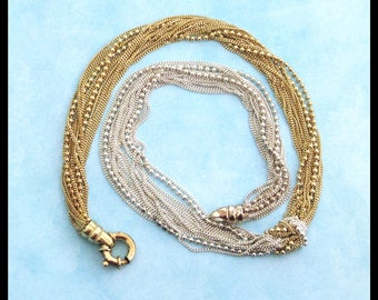 Sterling Silver and Gold Vermeil Necklace / Love Knot Choker / Vintage 1980s / Multi-Chain Necklace / Fortunoff's / Ball Chain, Flat Chain