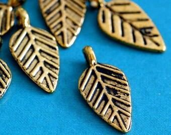 Lead Free 24pcs Antique Golden Leaf Pendants 9x19mm GLF0241Y