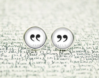 Quotation Mark Earrings - Punctuation Jewelry - Quotation Marks - Booklover Earrings -  Book Gifts -  (H4005)