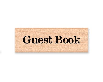 Guest Book  - wood mounted rubber stamp