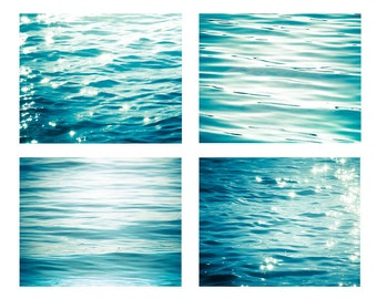 nautical decor ocean photography abstract beach photography print set 8x10 11x14 fine art photography sparkle bokeh photography teal blue