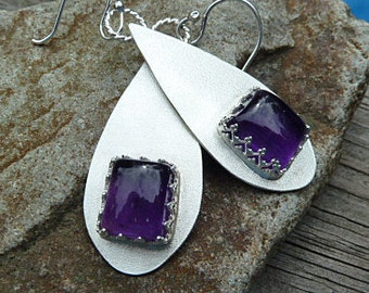 Amethyst Tear Drop Earrings in Sterling Silver