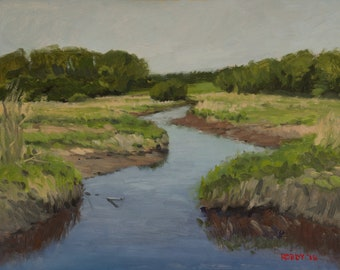 Landscape oil painting of river - Tributary 3