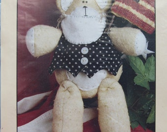 Samuel Bear/Craft Sewing Pattern by Cheri/12 in. Bear Doll/plus Clothing Shown and Flag