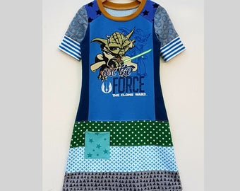 Size 7 girls dress, starwars, clone wars, girlsclothing, upcycled dress, kids clothing, children's clothing, handmade, upcycling,force