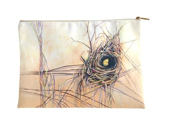 Nest and Yellow Butterfly Make Up Bag, Cosmetics Bag, Pencil Case, Accessories Pouch - large and small size