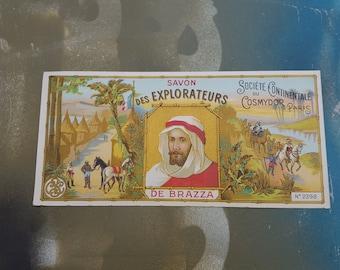 Antique Label, French Soap Label, Vintage Soap Label, 1910 Label, Vintage Label,  Savon Label, Des Explorateurs, Vintage Ephemera, Savon