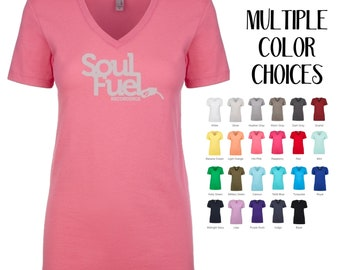 Soul Fuel Ladies V-neck Tee, Please note: Ships Once Per Month, Women's XS S M L XL 2XL 3XL HTV on Cotton Poly Tee