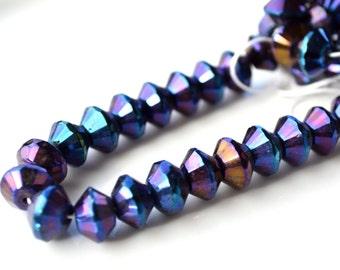 Large 11mm Blue Iris Rivoli Beads   25