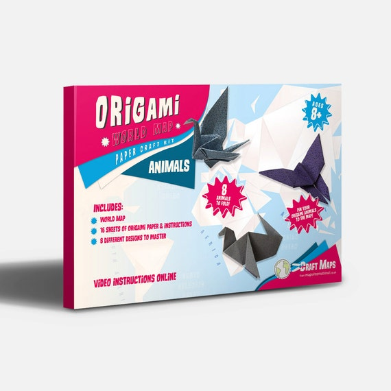 Origami world map craft kit kids craft make creative kids origami world map craft kit kids craft make creative kids activity geometric animals origami paper world map for kids gumiabroncs Image collections