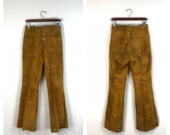 70's vintage suede leather flare boot cut pants hippie size w29.5