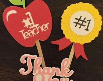 12 Teacher Appreciation cupcake Toppers, Teacher Toppers, Teacher Appreciation Week,Teacher Appreciation
