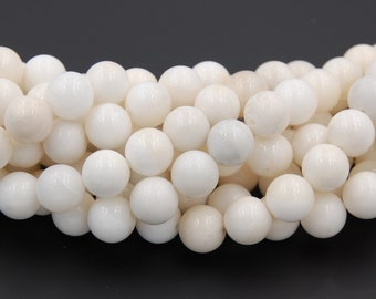 10mm Creamy White Jade Beads Opaque Smooth - 15.5 inch strand