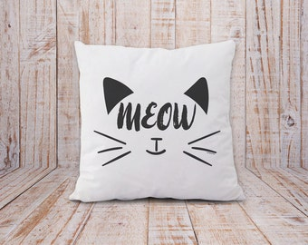 Cat pillow cover-meow pillow-gift for cat lovers-cat decor-home decor-decorative pillow-Valentine gift-black cat pillow-NATURA PICTA-NPCP068