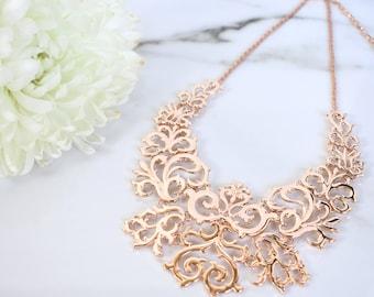 Rose Gold Necklace, Rose Gold Filigree Necklace, Statement Necklace, Bib Necklace, Choker Necklace, Metal Necklace, Fashion Necklace