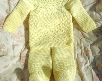 Crocheted Baby Girl Top Pant 2-Piece Set Yellow Infant 6 – 12 mo