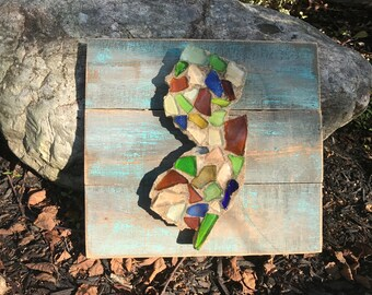 New Jersey wood cut-out with glass and sand