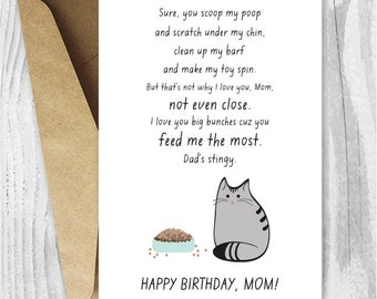 Printable Birthday Card for Cat Moms, Funny Cat Birthday Card for Her, Printable Birthday Card for Her, Instant Download, Fur Baby Mom