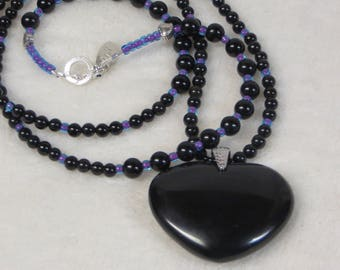 Necklace Beaded Obsidian with Obsidian Heart Pendant