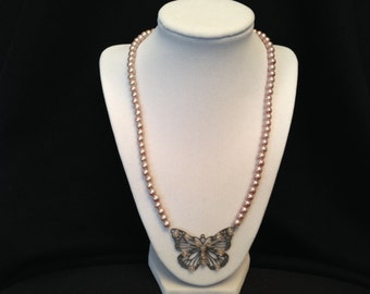 Pink Pearl and Butterfly Necklace Set