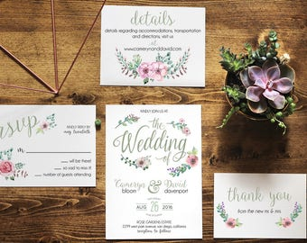 Printable Floral Wedding Invitation   Peonies   Botanical   The Cameryn Collection