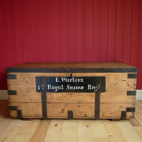 ANTIQUE CAMPAIGN CHEST Coffee Table Storage Trunk Military WW1 Box Vintage Rustic Industrial Chest Reclaimed Wooden Furniture