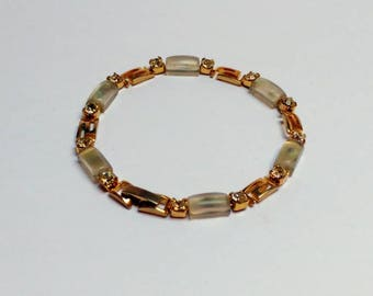 Frosted lucite rhinestone bracelet