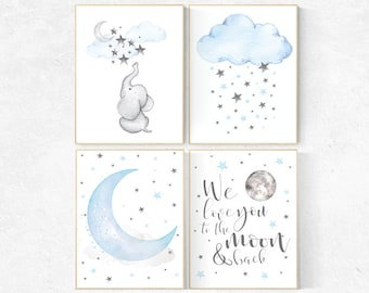 Blue Gray Nursery Art, nursery decor elephant, nursery decor boy cloud, we love you to the moon and back, blue and gray elephant nursery